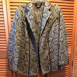 Peck & Peck Turquoise & Brown Paisley Jacket